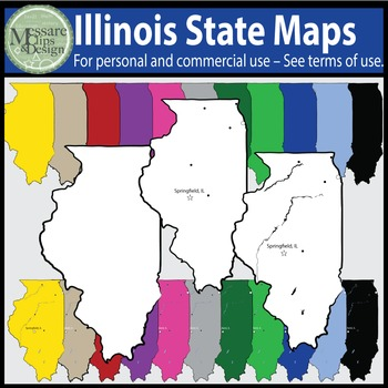 USA Sets - Illinois State Map Set {Messare Clips and Design}