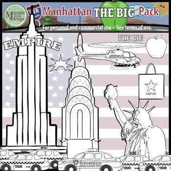 "USA Sets - NYC Manhattan ""Big Apple"" Clip Art Pack {Messare Clips and Design}"