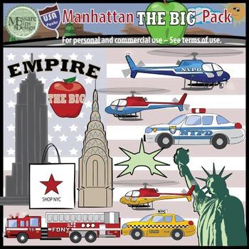 "USA Sets - NYC Manhattan ""Big Apple"" Clip Art Pack {Messar"