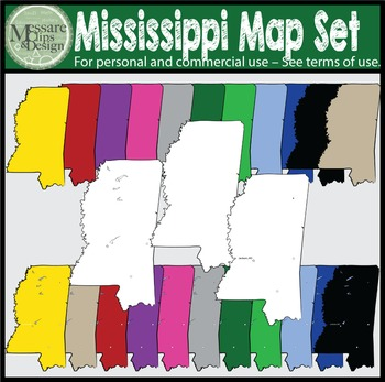 USA Sets - Mississippi State Map Set {Messare Clips and Design}