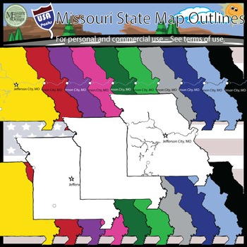 USA Sets - Missouri State Outline Set {Messare Clips and Design}