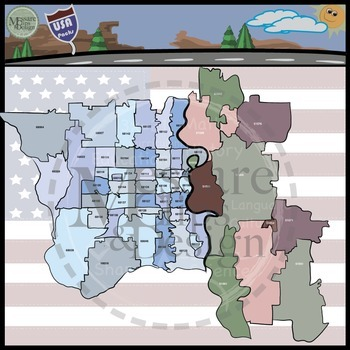 USA Sets - Nebraska & Omaha Area Zip Code Maps Custom {Messare Clips and Design}
