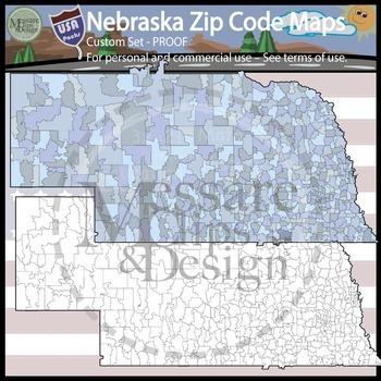 USA Sets - Nebraska & Omaha Area Zip Code Maps Custom {Mes