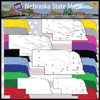 USA Sets - Nebraska State Map and Outline Set {Messare Clips and Design}