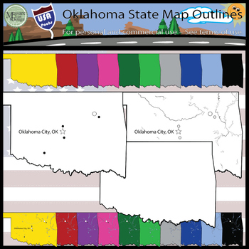USA Sets - Oklahoma State Outline Set {Messare Clips and Design}