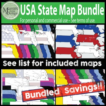 USA Maps - State Maps Bundled Savings Pack {Messare Clips and Design}