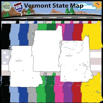 USA Sets - Vermont State Map Set {Messare Clips and Design}