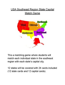 USA Southeast Region State Capital Match Game
