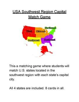 USA Southwest Region Capital Match Game