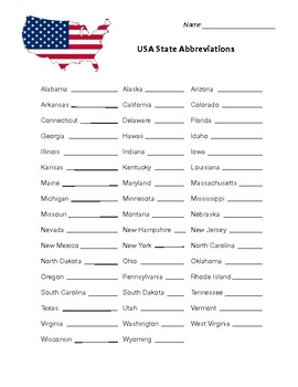 USA State Abbreviation Worksheet