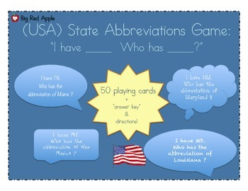 5 Regions: I Have Who Has (State Abbreviations)