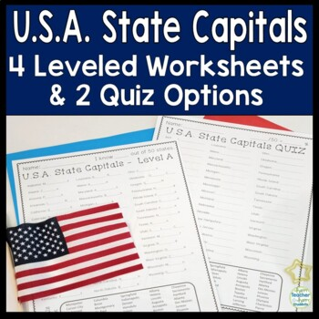 State Capitals: 4 Worksheets & 2 Quiz Options: USA States and Capitals Practice