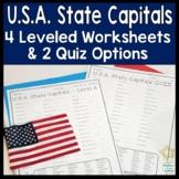 State Capitals: 4 Worksheets & 2 Quiz (Tests): USA States and Capitals Practice