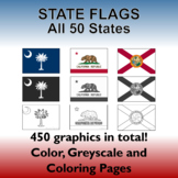 USA State Flags: All 50 US states - 450 graphics - Clipart and Coloring Pages
