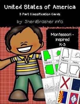 USA States 3 Part Cards   K-3   Montessori
