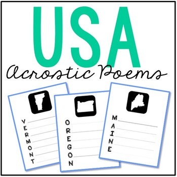 USA States Acrostic Poem Pages, Government, Geography, Tra