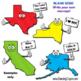USA States Cartoon Map Clipart Bundle:  50 US States | Clip Art for Teachers