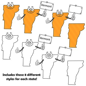 usa states cartoon map clipart bundle 50 us states clip art for teachers
