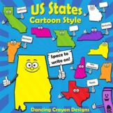 USA State Map Clip Art   50 Cartoon US States