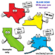 USA States Cartoon Map Clipart:  50 US States