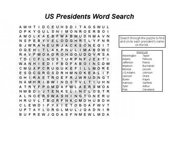USA States, Cities, and Presidents Word Search