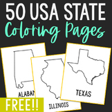 USA States Coloring Pages, No Prep Activity, Great for Crafts and Note Taking