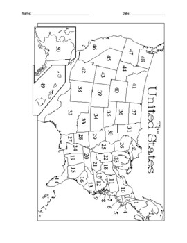 USA States and Capitals Geography Test w/ ANSWER KEY - (Editable)