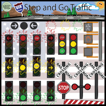 USA Stop and Go Traffic Signals Clip Art {Messare Clips and Design}