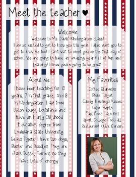 USA Stripes Meet The Teacher Template **Editable**