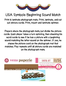 USA Symbols Beginning Sound Match