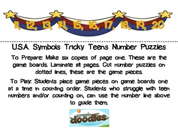 USA Symbols Tricky Teens Number Puzzles (Election)