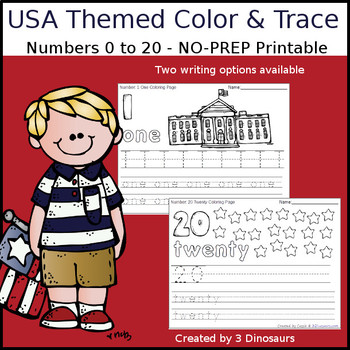 USA Themed Number Color and Trace