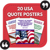 20 USA Themed Posters - Great Quotes About America for Sch
