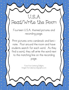 USA Themed Read and Write the Room