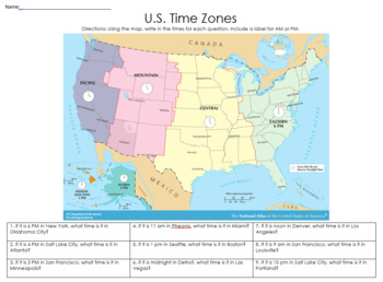 Usa Map Practice.Usa Time Zone Practice Est Given By Social Studies Resources By