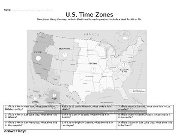USA Time Zone Practice EST Given By Social Studies Resources By - Us time zone map black and white