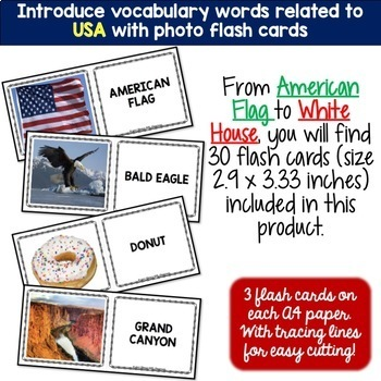 USA Country Symbols BUNDLE Word puzzles and Photo Flash Cards