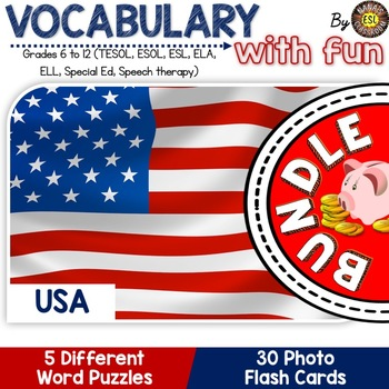 USA 5 Word Puzzles and 30 Photo Flash Cards BUNDLE