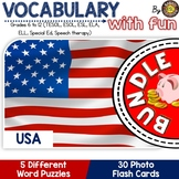 USA 5 Word Puzzles and 30 Photo Flash Cards