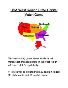 USA West Region State Capital Match Game