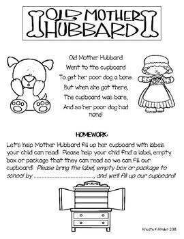 Nursery Rhyme Environmental Print Homework Letter Home
