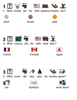 USA Womens Hockey Wins Gold - picture supported text lesson visuals