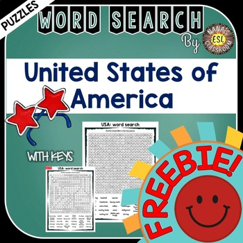 USA Word Search Country Symbols Vocabulary Words @FREEBIE@