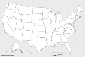 USA blank map 2