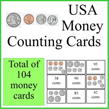 USA money counting cards game