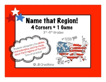 4 Corners Game:  USA regions & states geography!