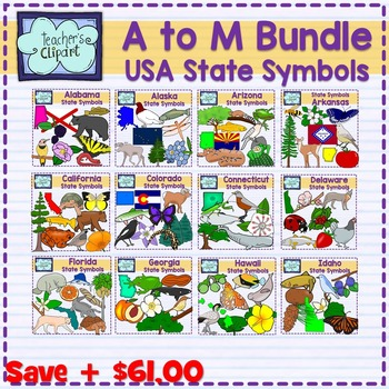 USA state symbols clipart BUNDLE - A to M - Social Studies Clip art