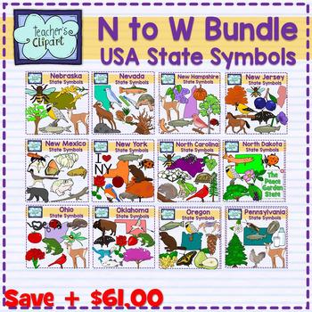USA state symbols clipart BUNDLE (N to W) Social Studies Clip art