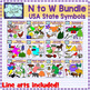 USA state symbols clipart BUNDLE (N to W) Social Studies Clip art