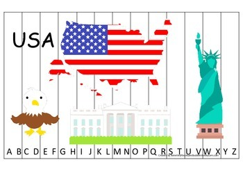 USA themed Alphabet Sequence Puzzle preschool educational game.